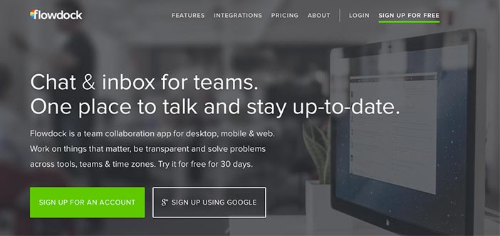 Crear páginas web: Herramienta de colaboración en línea Flowdock