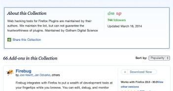 Colección con complementos de Firefox: Web Application Security Penetration Testing