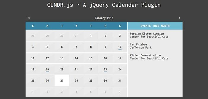 Javascript plugin para añadir calendarios: CLNDR.js