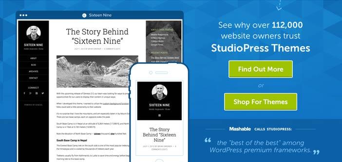 Mercado online para temas Wordpress: StudioPress