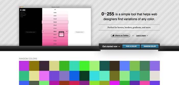 Generador de paletas de colores: 0to255