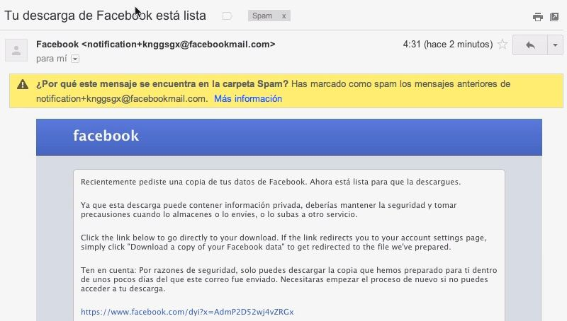 Facebook - Email Descarga