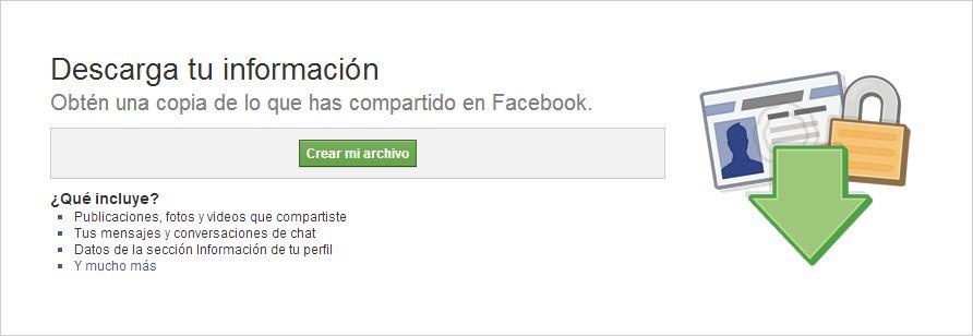 Facebook - Descarga tu información