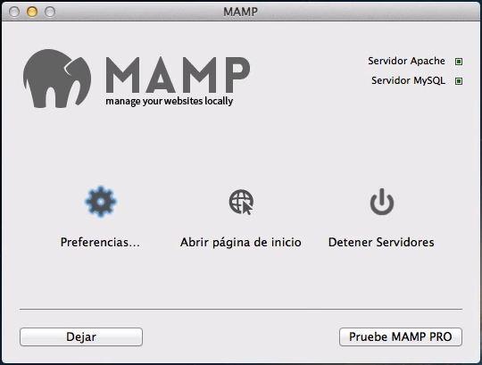 MAMP - Servicios iniciados