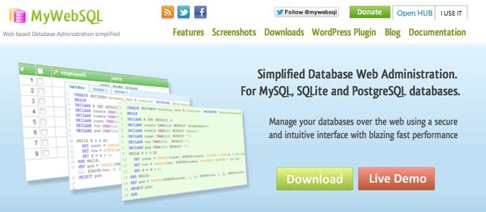 Manejador de base de datos: MyWebSQL