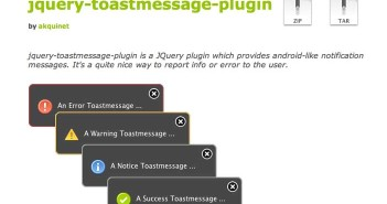 Plugin JQuery para implementar notificaciones: JQuery-toastmessage