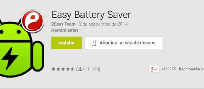 Programas para Android para alargar duración de batería: Easy Battery Saver