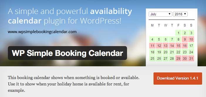 Plugin Wordpress para reservaciones: WP Simple Booking Calendar