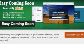 Plugin Wordpress para crear anuncios de páginas próximas a lanzarse: Easy Coming Soon