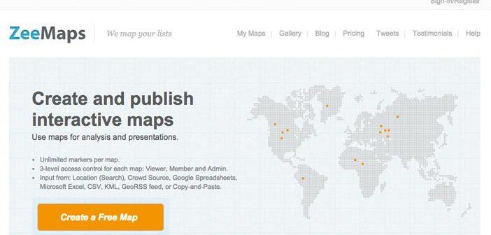 Herramientas para crear mapas online: ZeeMaps