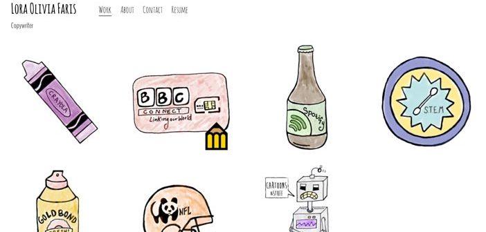Ejemplos de paginas web de redactores creativos: Lora Olivia Faris
