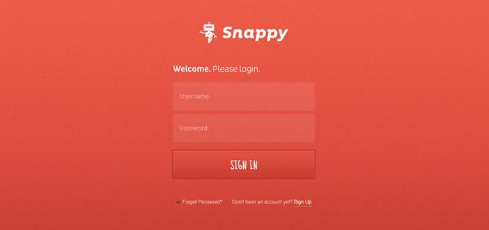Ejemplos de formularios web de acceso: Snappy Login