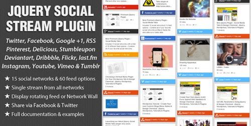 Plugin jQuery para añadir botones de redes sociales: jQuery Social Stream Plugin