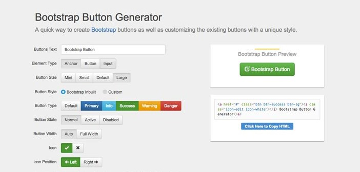 Generador de botones en línea para Bootstrap: Bootstrap Button Generator