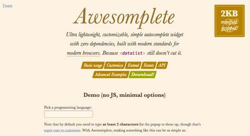 Plugin jQuery para implementar función Autocompletar en tu sitio: Awesomplete
