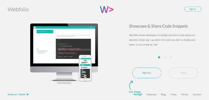 Plataformas para compartir snippets de manera pública o privada: Webfolio