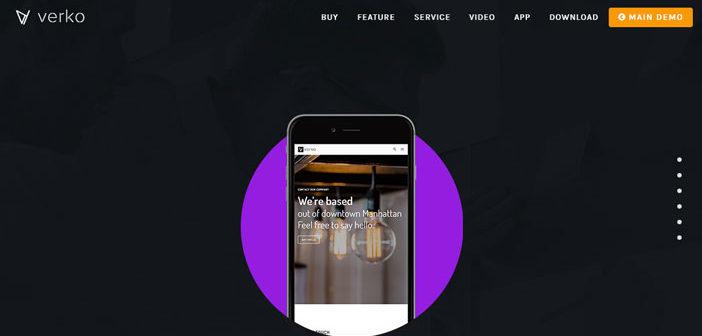 Temas Wordpress para páginas de aterrizaje de aplicaciones móviles: Verko