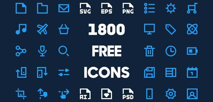 Grandes paquetes de iconos gratuitos esenciales para cualquier diseñador: 1800 Free Minimal Icon Pack