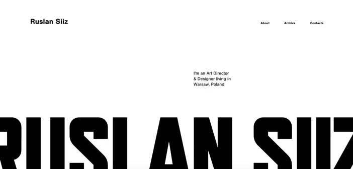 Ejemplos de portafolios online que hacen buen uso de la tipografía: Ruslan Siiz