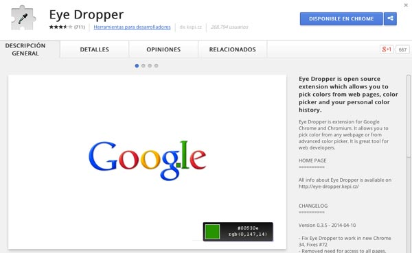Extensiones Google Chrome para diseñadores: Eye Dropper