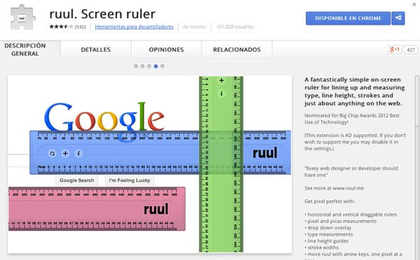 Extensiones Google Chrome para diseñadores: ruul. Screen Ruler