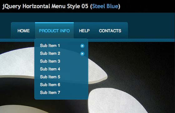 JavaScript plugin Horizontal Menu