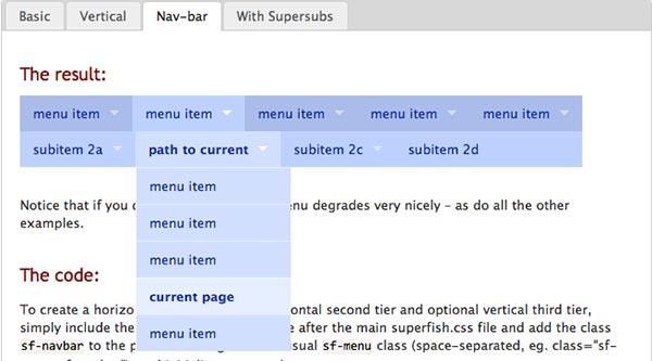 JavaScript plugin Superfish