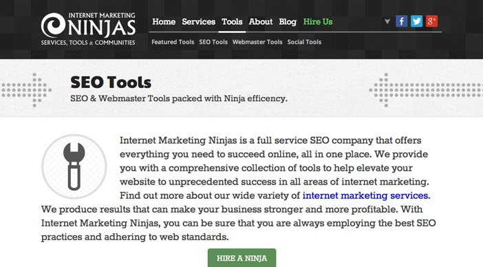 Herramientas SEO para bloggers: Internet Marketing Ninjas