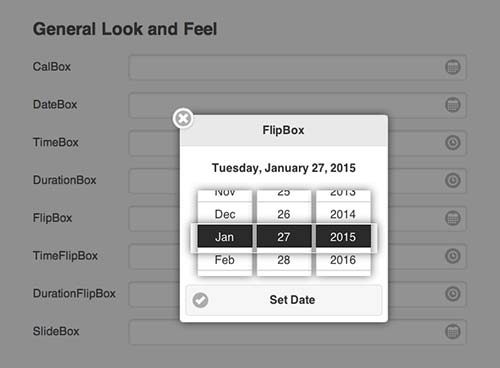Javascript plugin para añadir calendarios: Datebox