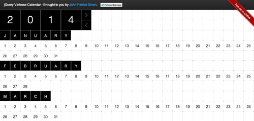 Javascript plugin para añadir calendarios: JQuery Verbose Calendar