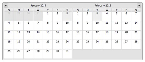 Javascript plugin para añadir calendarios: Multiday Calendar Date Picker
