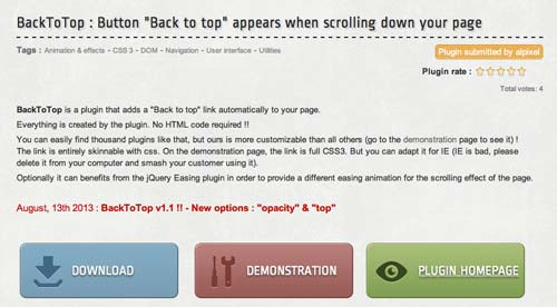 Plugin JQuery Back to Top