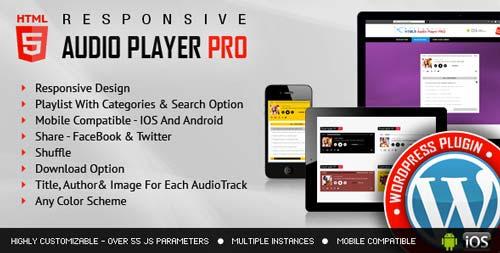 Plugin WordPress para incorporar reproductor multimedia: Responsive HTML5 Audio Player Pro