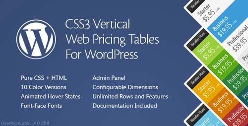 Plugin WordPress para incorporar tablas de precio CSS3 Vertical Pricing Tables