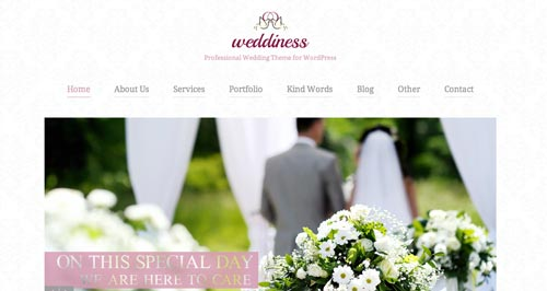 Temas WordPress parta bodas Weddiness
