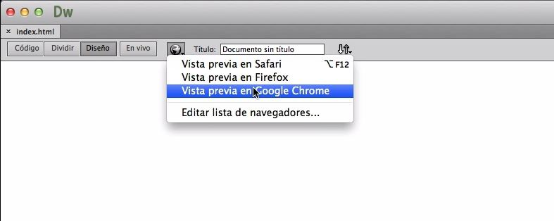 Dreamweaver CC - Vista previa en Google Chrome