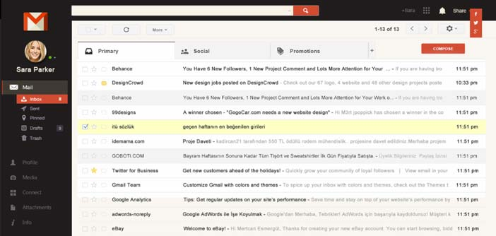 Ejemplos de rediseño de Gmail: Interface Redesign Concept