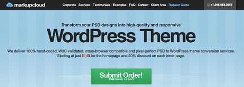Servicio PSD to WordPress:  Markupcloud