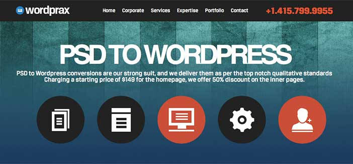 Servicio PSD to WordPress: Wordprax
