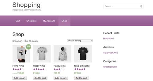 Woocommerce themes para tienda online: Shopping