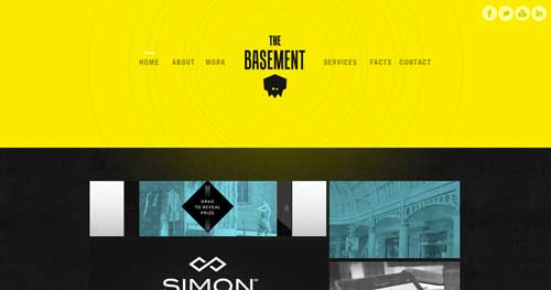 Uso de colores vibrantes en diseño de pagina web: The Basement