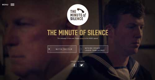 Ejemplos de paginas web con buen uso del hamburger menu: The Minute of Silence