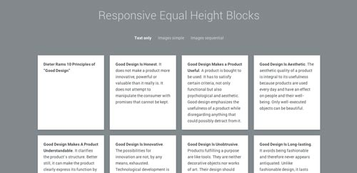 Plugin JQuery para sistemas de cuadrículas: Responsive Equal Height Blocks