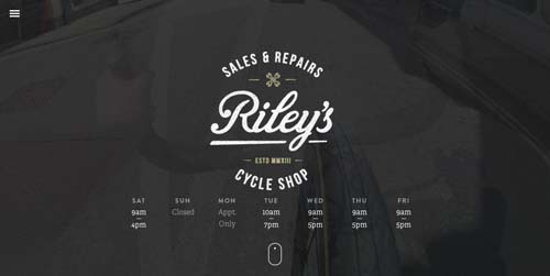 Ejemplos de paginas web que hacen uso de videos como fondo: Riley's Cycle