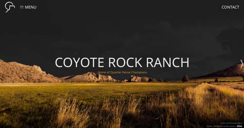 Websites that use photos of beautiful landscapes: Coyote Rock Ranch
