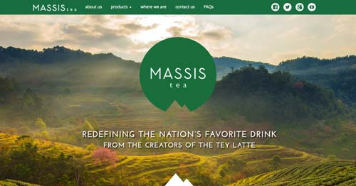 Websites that use photos of beautiful landscapes: Massis Tea