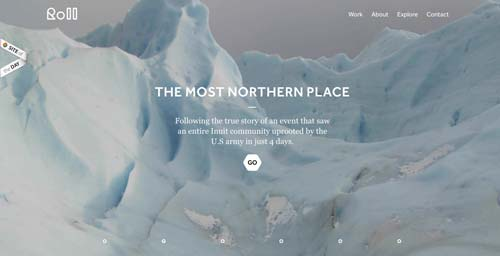 Websites that use photos of beautiful landscapes: Roll Studio