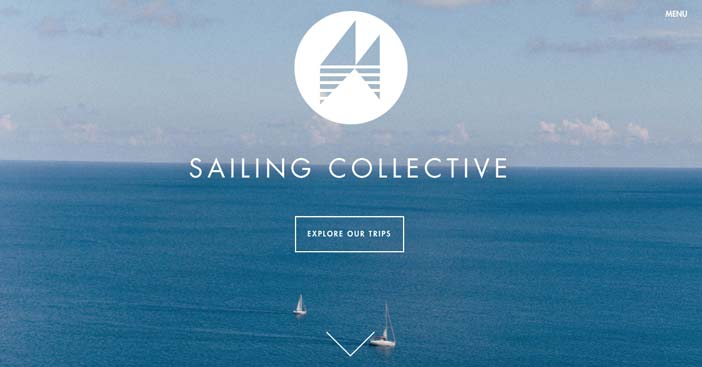 Websites that use photos of beautiful landscapes: Sailing Collective
