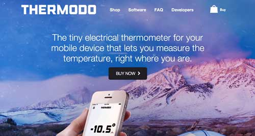 Websites that use photos of beautiful landscapes: Thermodo