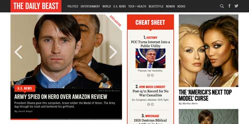 Ejemplos de paginas web de revistas y diarios online: The Daily Beast